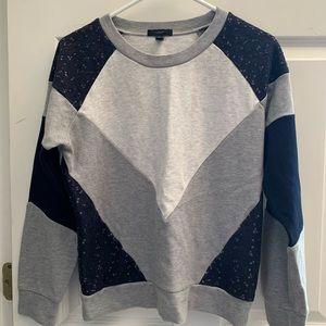 J.Crew Sweatshirt Gray and Navy Lace Pattern S!!